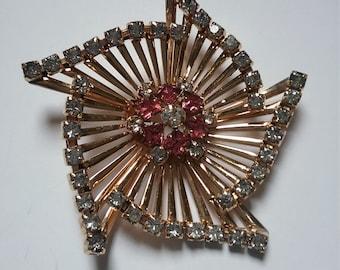 m&s  (scitarelli) 12k  gold filled and  rhinestone spiral pin