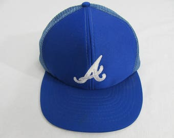 Vintage 80's Atlanta Braves Blue Mesh Trucker Hat MLB Baseball
