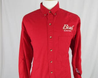 Vintage 90's Budweiser Racing Winners Circle Size XL Red embroidered  Button Down