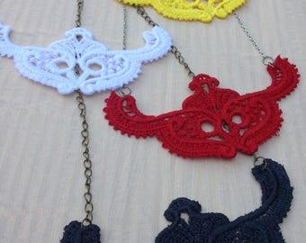 Lace Pendant, Lace Necklace, Romantic Necklace, Victorian Style Jewelry, vintage, Black Lace, Embroidery Lace, lace choker, steampunk,  boho