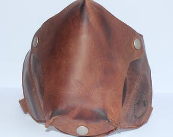 "Cafe racer mask ""Motard"" (Brown) - motorcyclists/bikers - 100% genuine leather"