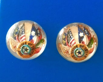 Vintage Texas Flag Cabochon Earrings