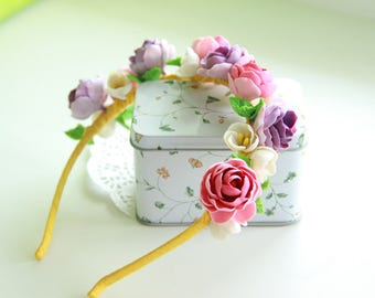 "Handmade hair band made of polymer clay with flowers ""Roses"""
