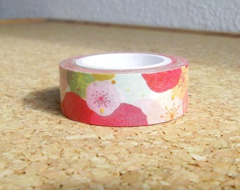 Floral washi tape Pink flowers design masking adhesive paper for scrapbooking Kawaii japanese stationery