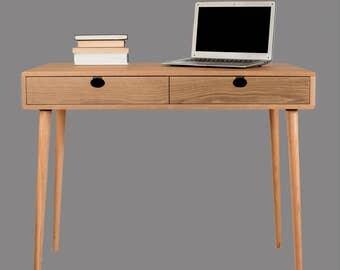 Table (desk, toilet) Walnut/oak solid 2 c Mind Century