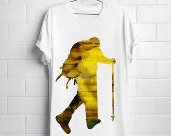 Hiker T-shirt Art Tee Fashion Apparel Shirt White