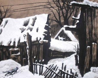 "Winter day. Art Original Ink Painting by Zuev Aleksei, 12x16"" painting, ink landscape, winter art, cats art, Black White Brown"