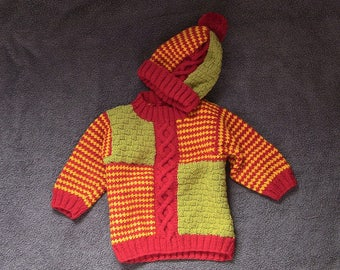 FREE P&P TO UK *** Hand Knitted, Child's Colourful Cable Jumper and Hat, Cable Jumper, Cable Hat, Cable Sweater, handmade.