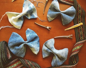 Denim Hair Bow Accessories Clip-In Bleached Acid Wash Women's Girl's