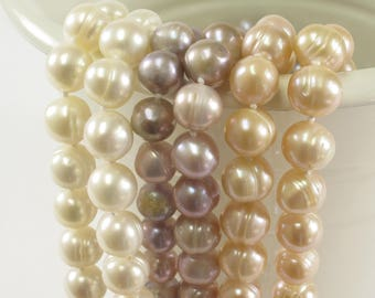 54 inches Knotted Necklaces made of 9mm Ringed Genuine Natural Freshwater Pearls in Natural White, Pink and Light Peach Colors (72-NKMIX54)