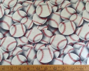 Baseballs cotton fabric by the yard