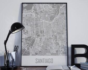 Santiago Map Santiago Travel Map Santiago Street Map Santiago Map Poster Santiago Map Photo Santiago Map Print Santiago Map Art Santiago Art
