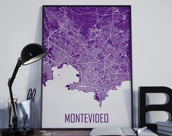 Montevideo City Map Montevideo Map Montevideo Poster Montevideo Photo Montevideo Print Street Map Home Decor Montevideo Wall Art Uruguay Art