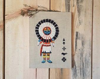 vintage Zuni crewel | embroidered Zuni dancer | wall hanging | crewel art | southwest decor