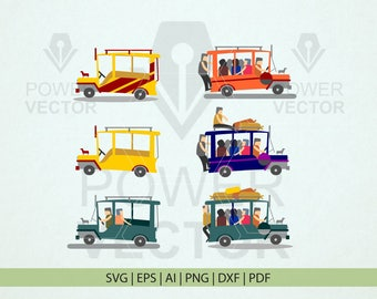 Philippine Jeepney Clip Art. Pinoy Jeep Svg. Passenger Jeepney Cartoon Png, Clip Art Printable File. Jeepney Iron On Vector Instant Download