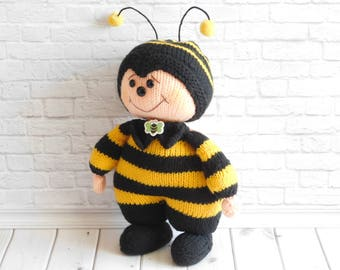 Bee stuffed toy Hand-Knitted bee Amigurumi doll Funny toy Bright character doll Decorative kids toys Birthday gift  Home decor idea