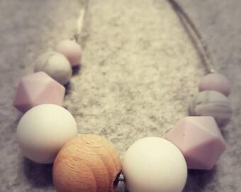 Silicone Necklace: Lilac & White