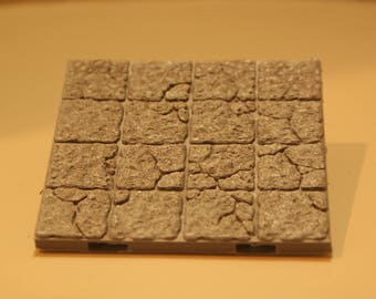 3D Dungeon Tiles - 4x4 Ruined Floor Tile
