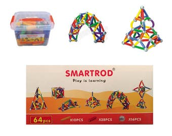 SmartRod Magnetic Discovery Set 64 pcs bucket