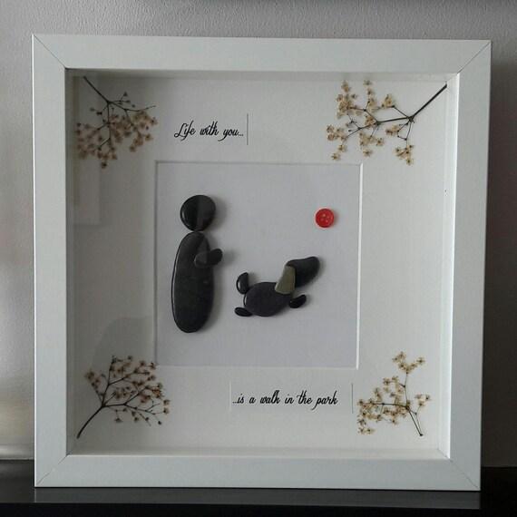 Dog pebble art arte de piedra cuadros con piedras regalo for Cuadros hechos con piedras
