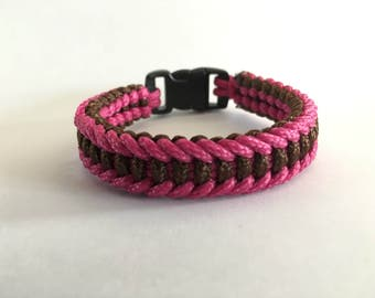 Brown - Pink Paracord Survival Bracelet with Buckle