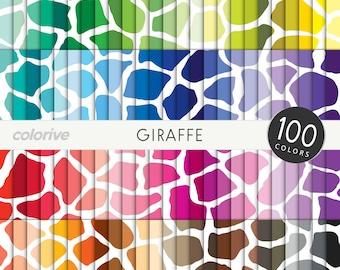 Giraffe digital paper 100 rainbow colors animal print brights pastels neutrals printable scrapbooking paper