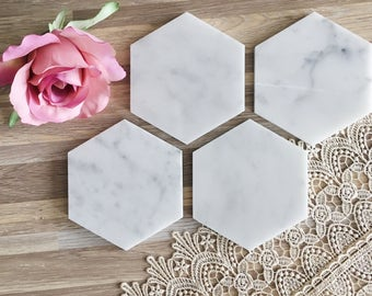 Marble Coasters Set of 4 Natural Hexagon