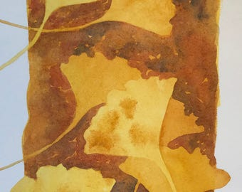 """Original watercolor painting """"Ginkgo"""" golden yellow leaves"""
