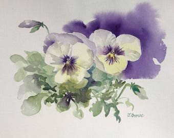 """Original watercolor painting """"Pansy Duo"""" floral spring flower purple & green"""