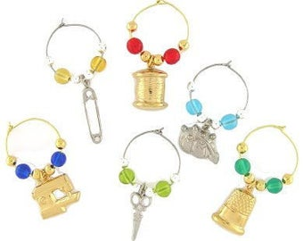 Sewing Drink Charms, Wine Glass Charms