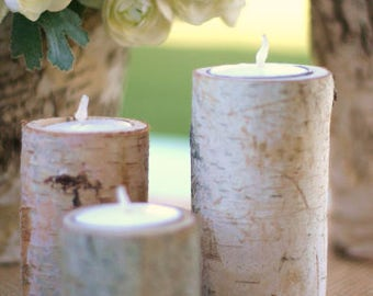 50 Centerpiece Birch Bark Log Candle Holders Rustic Chic (item M10564)