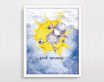 Good morning nursery print, Lamb print, Nursery art lamb print, Kids room animal print, Nursery animal wall art, Nursery animal decor, Gift