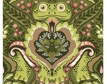 "Tula Pink Fabric.  Prince Charming. Frog Prince. Olive. Fat Quarter (22"" x 18"")."