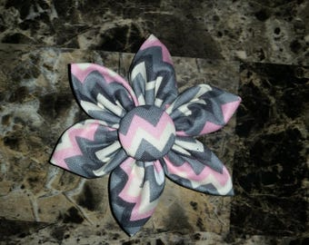 Pink & Gray Chevron 6 Petal Flower