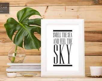 Van Morrison- Into the Mystic- Smell the sea and taste the sky- Home Decor Print- Song Lyric Art- Classic Rock Lyrics- Hip Minimalist Decor