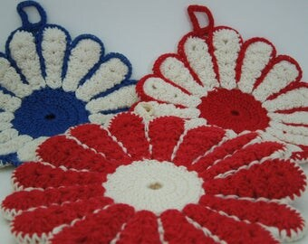 Potholders Vintage Red, White and Blue