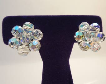 Earrings Aurora Borealis (AB) Crystal Beads in a Flower Design with a Textured Silver Tone Clip Backs Vintage