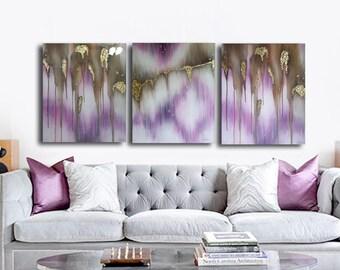 Ser of 3 Original painting, canvas art,  glass look epoxy resin coating