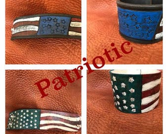 Patriotic Leather Cuffs