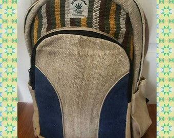 100% Hemp Backpack. Handmade in Nepal. Eco Friendly.