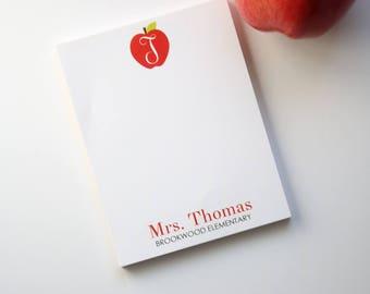 Back to School Teacher Appreciation Personalized Teacher Notepad - Teacher Gift - End of Year Teacher Gift - Style: Apple Monogram