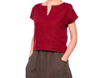 Linen top/ Linen blouse/ Linen summer blouse/ Linen shirt women/ Linen women's clothing/ Short sleeve linen shirt/ Linen tee