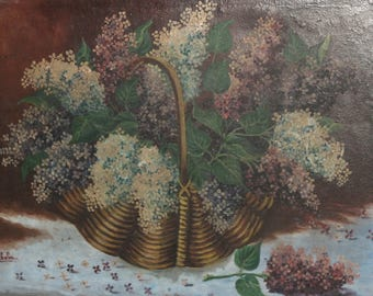 Vintage still life with flowers oil painting