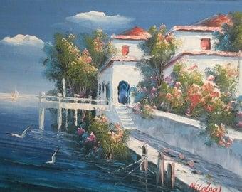 Impressionist oil painting landscape seascape signed