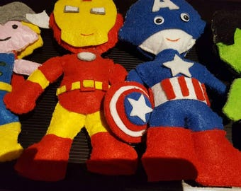 Hand stitched felt puppets avengers