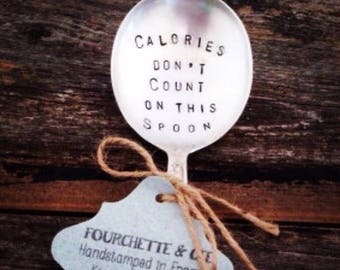 Great saying - Great handstamped silver deserspoon !