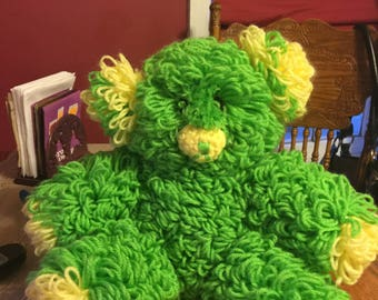 Beautiful crocheted looped teddy bear