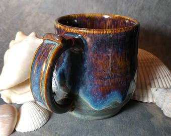 14oz Wheel thrown Artisan stoneware pottery coffee mug