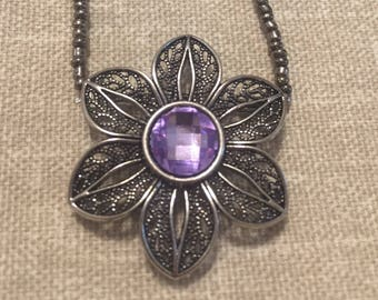 Purple & Silver Flower Charm Necklace