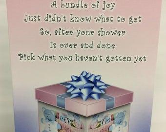 Baby Shower, Gift Card Holder. SET OF 4. Baby girl gift card holder. Baby boy gift card holder. Baby gift card holder.